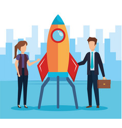 business couple with rocket startup vector image