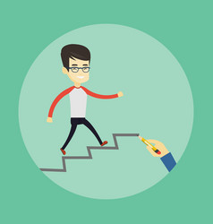 business man running up the career ladder vector image