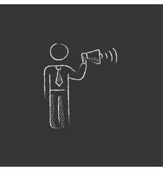 Businessman with megaphone Drawn in chalk icon vector