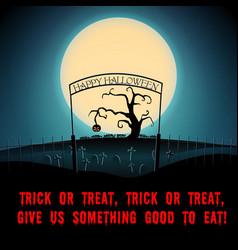 cartoon halloween scary night poster vector image