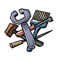 Cartoon image of tools icon repair service vector