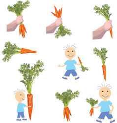 child holding a carrot objects on white background vector image