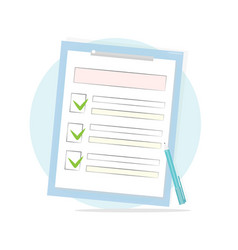 Claim form with pen and checklist icon vector