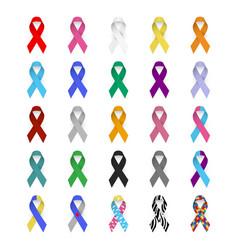 Colorful awareness ribbons emblem cancer aids vector