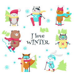 cute animals skiing in winter isolated vector image