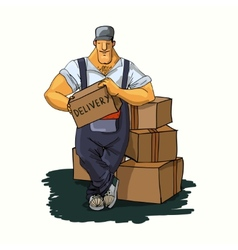 Delivery man with boxes vector image