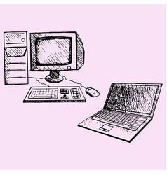 Desktop computer and laptop vector