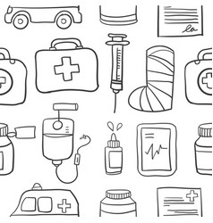 Doodle of various medical object style vector