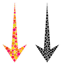 Dotted arrow down mosaic icons vector