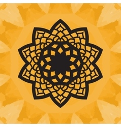 Elegant yantra-like pattern on yellow seamless vector