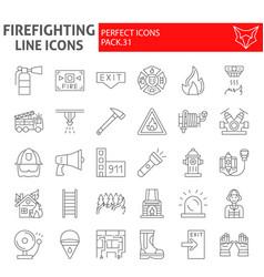 firefighter thin line icon set fireman symbols vector image