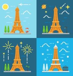 Flat design 4 styles of Eiffel tower Paris France vector image