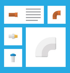 flat icon pipeline set of industry plastic water vector image