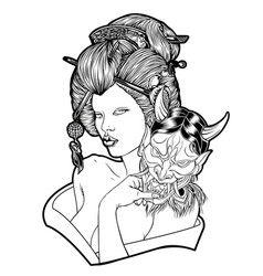 Geisha devil mask girl beautiful japan vector