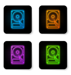 glowing neon hard disk drive hdd icon isolated on vector image