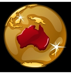 Golden globe with marked of Australia countries vector image