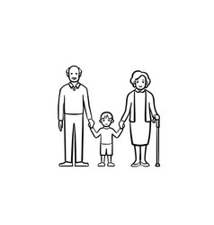grandparents and grandson hand drawn sketch icon vector image