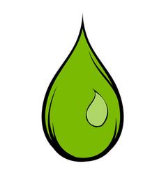 Green water drop icon cartoon vector