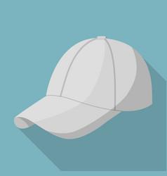 Grey baseball cap icon flat style vector