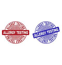 Grunge allergy testing textured round watermarks vector