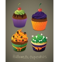 Halloween cupcake set Scary sweets to celebrate vector image