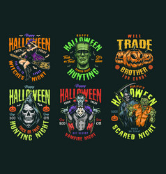 Halloween vintage colorful labels vector