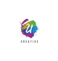 Hand lettering brush initial letter u inside vector