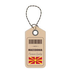 Hang tag made in macedonia with flag icon isolated vector