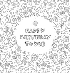 Happy birthday greeting card with hand drawm vector