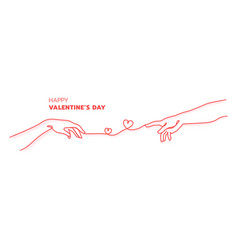 Happy valentines day with two hands adam red vector