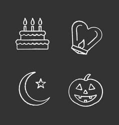 Holidays chalk icons set vector