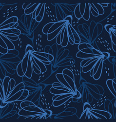 Indigo blue hand painted large scale floral vector