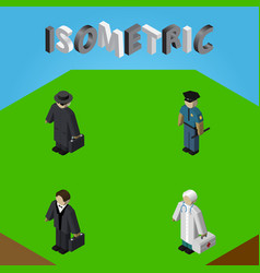 Isometric person set of medic detective officer vector
