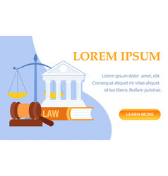 Law school symbols landing page template vector
