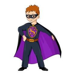 Little boy in the costume of superhero vector image