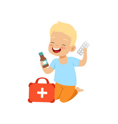 Little boy playing with medical supplies kid in vector