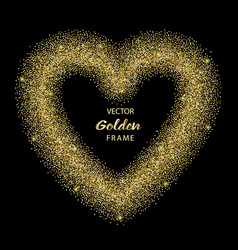luxury gold glitter heart frame vector image