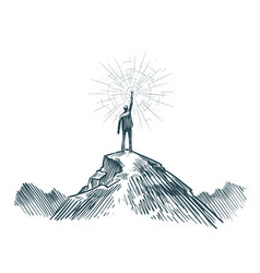 Man stands on top of mountain with torch in hand vector