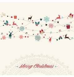 Merry Christmas vintage garland card vector