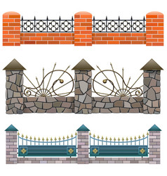 Metal fence set 1 vector