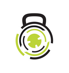 Modern gym fitness kettlebell logo design template vector