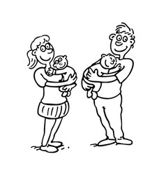mom dad hold baby outlined cartoon drawing sketch vector image