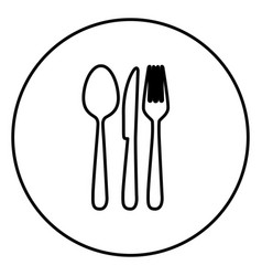 Monochrome contour circular frame with cutlery vector