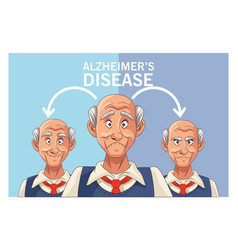 Old men patients alzheimer disease characters vector