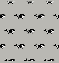 orca whale seamless pattern cartoon style vector image