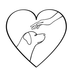 outline icon with dog hand and heart vector image