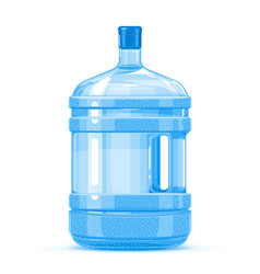Plastic water bottle container with handle vector