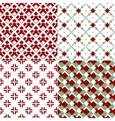 Red and green patterns vector