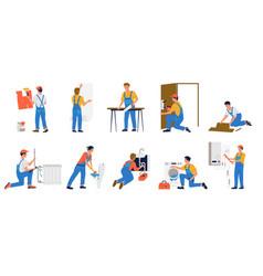 Repairman workmen making renovation builders vector