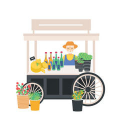 Seller standing at wheeled cart counter stall vector